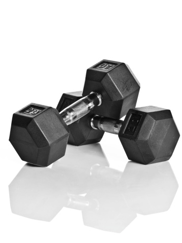 Dumbells isolated on white with reflection.