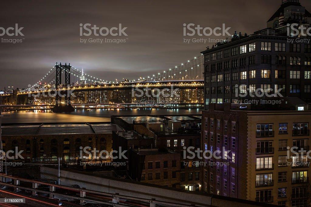 Dumbo and Manhatan Bridge at night stok fotoğrafı