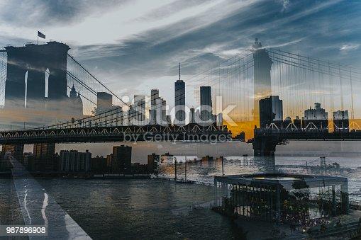 Dumbo Brooklyn Bridge Double Exposure