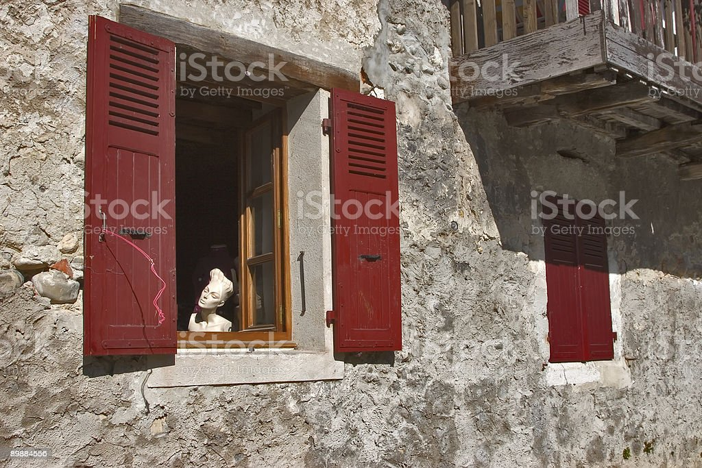 Dummy in a red window. royalty-free stock photo
