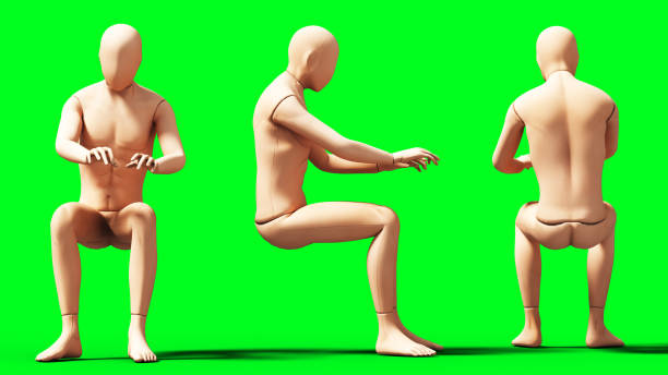 Dummy, mannequin isolate on green screen. 3d rendering. stock photo