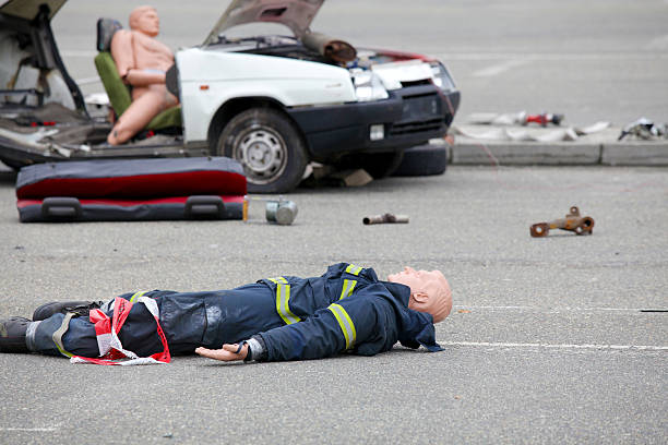 Dummy representing a car accident stock photo
