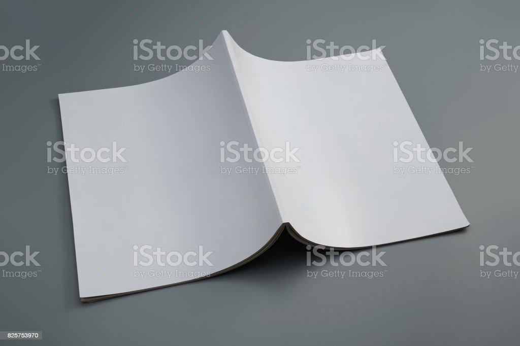 Dummy used magazine on gray background stock photo