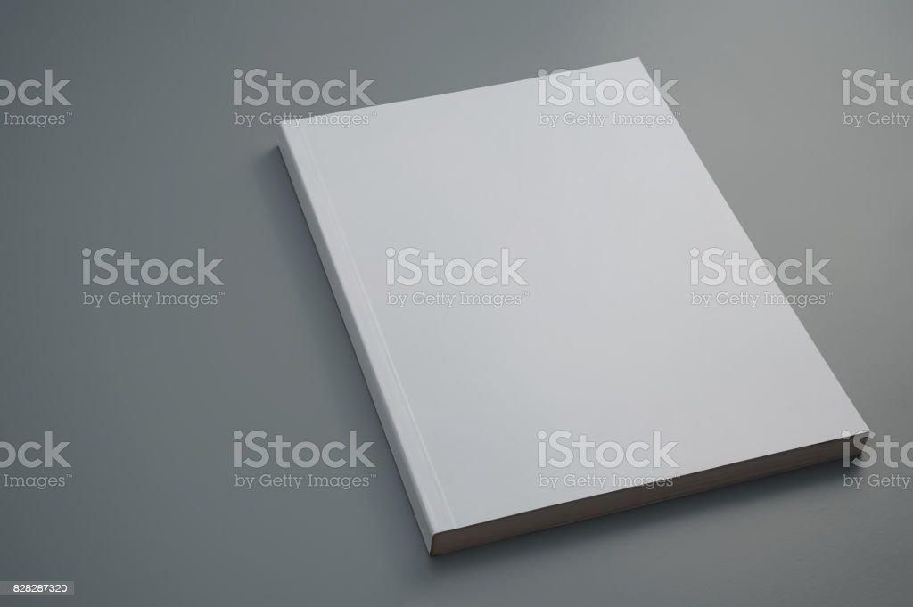 Dummy used magazine on gray background stock photo