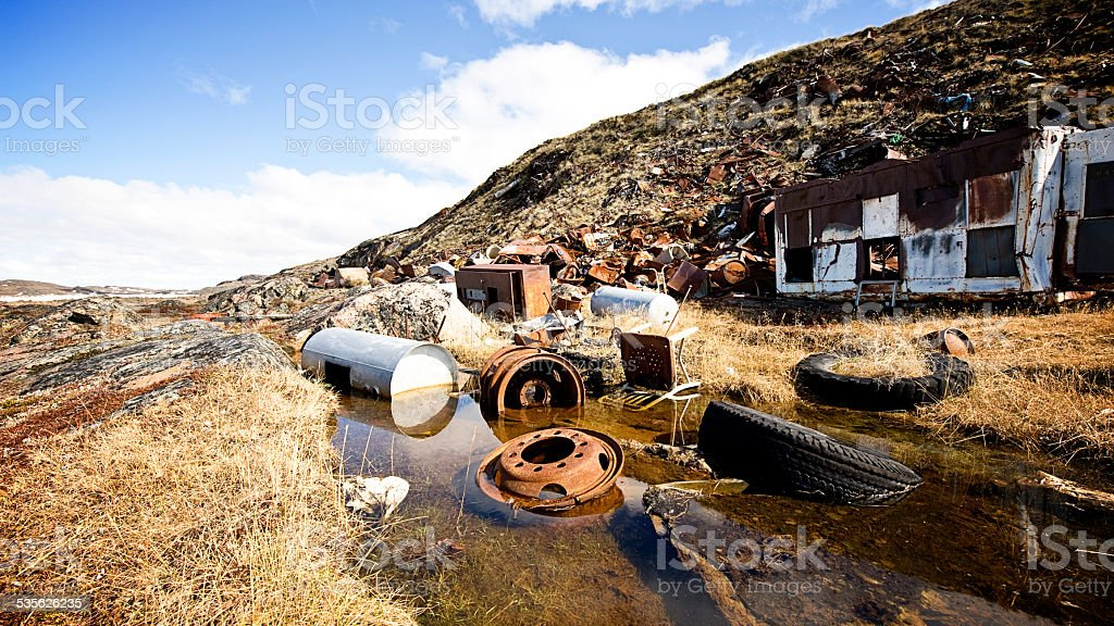 Dump in the Arctic, Nunavut, Canada. stock photo