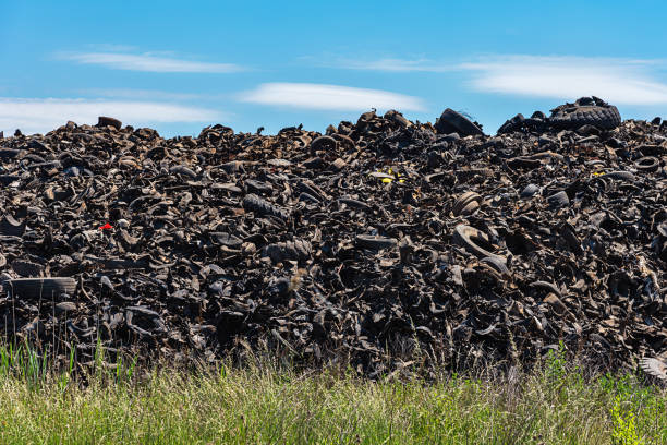 Dump of old tires of automobile wheels. Old wheel protectors. Old tyres polluting the nature. Environmental pollution. stock photo