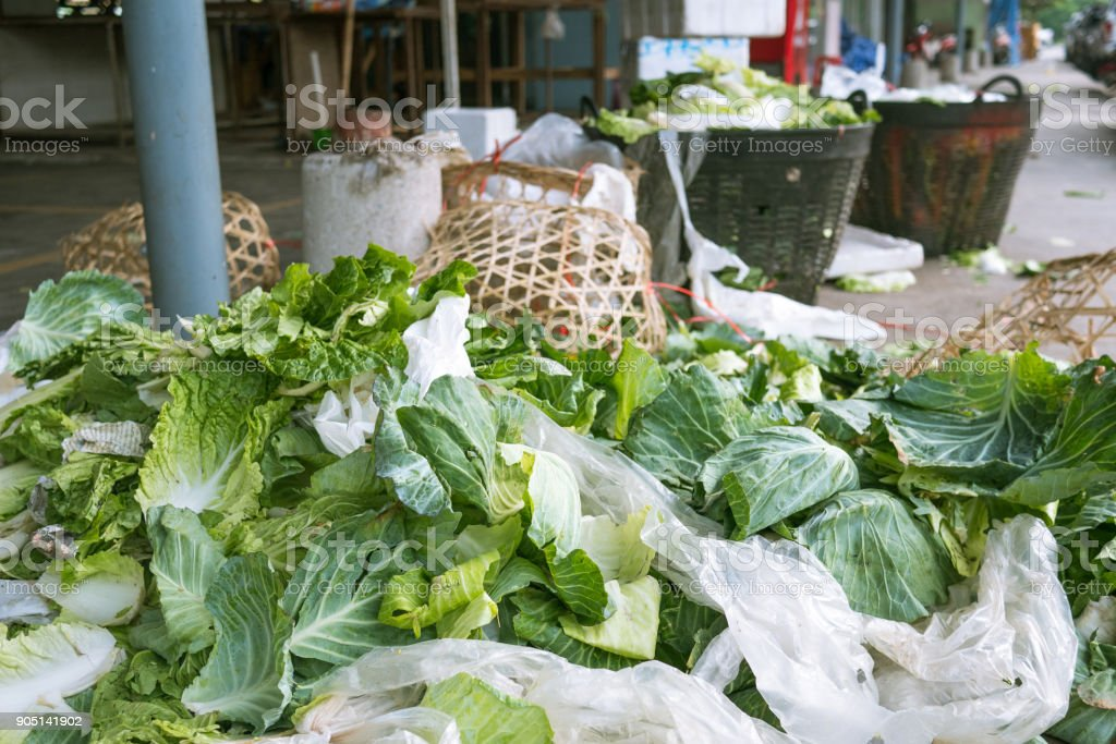 dump of vegetable waste in the fresh market stock photo