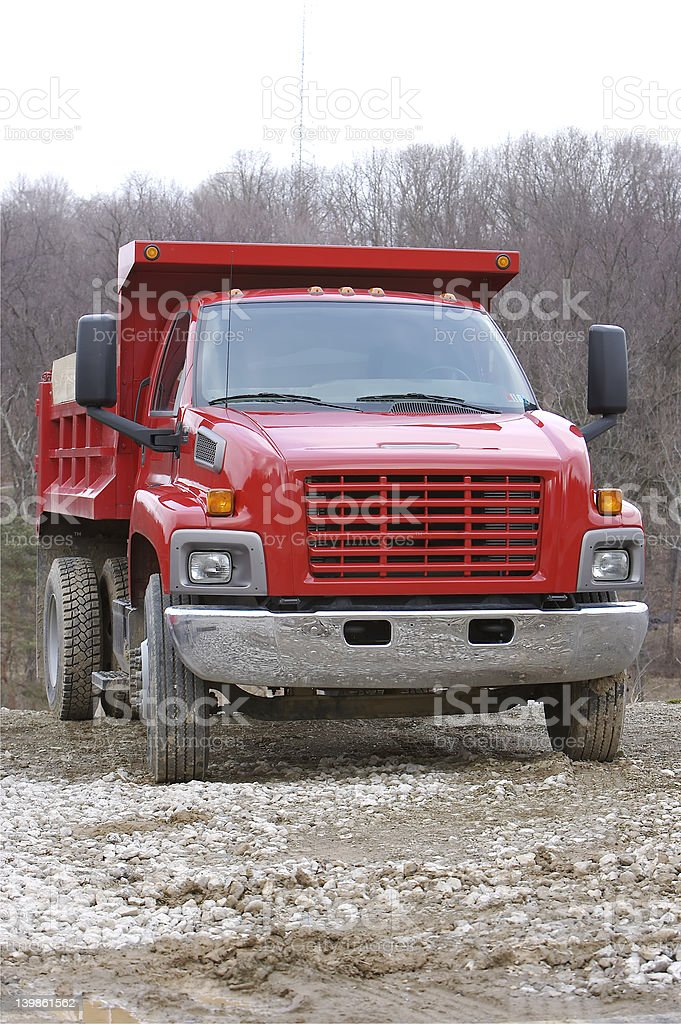 Red Dump Truck at construction