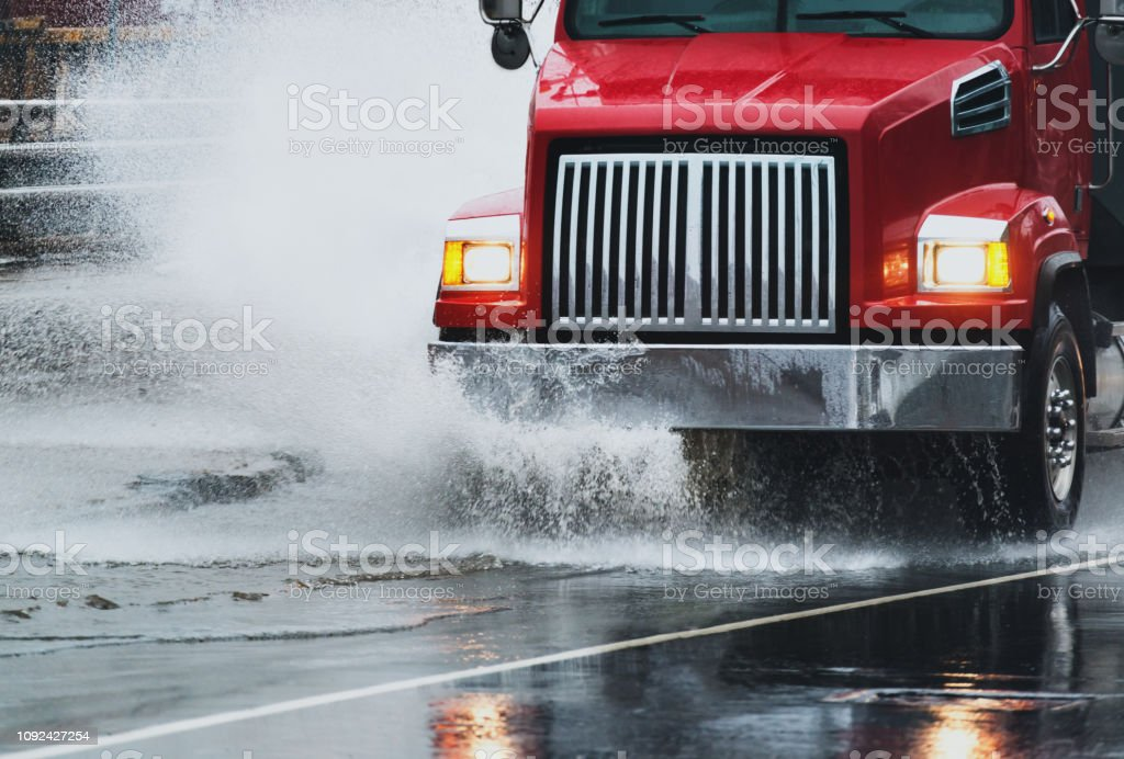 Dump Truck in Flooding royalty-free stock photo