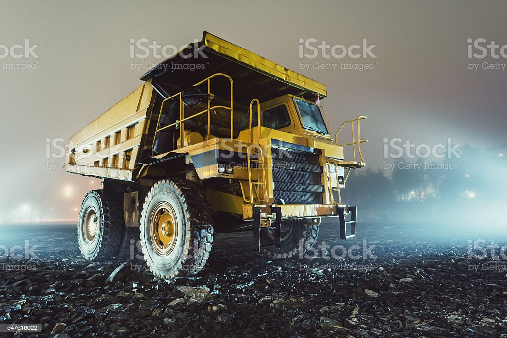 Dump Truck in Fog stock photo