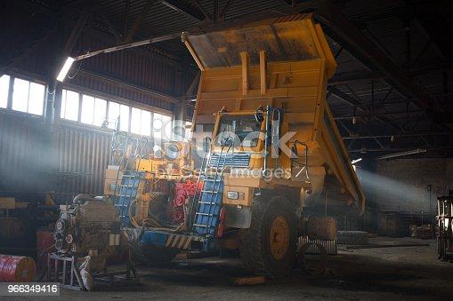 istock Dump truck in service zone 966349416