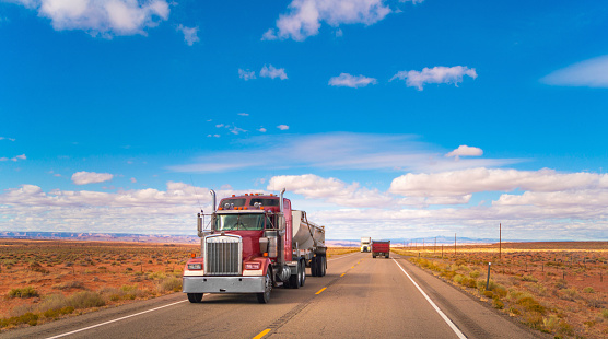 Dump truck on a rural road in Utah, USA