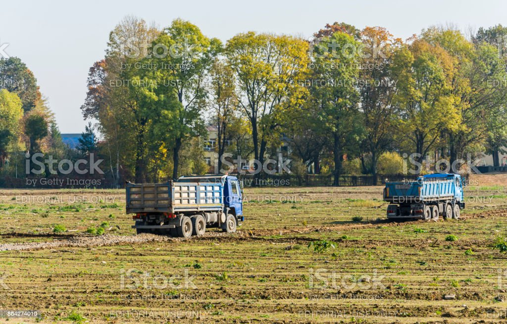 Dump truck on the construction site. royalty-free stock photo