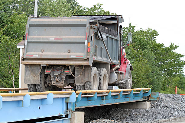 Dump Truck On Weight Scales stock photo