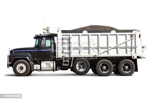 Profile view of a dump truck carrying cargo - isolated on white with drop shadow. The truck has been cleaned of all type and logos and the cab has been modified to differentiate it from the original. Canon 5D Mark II.