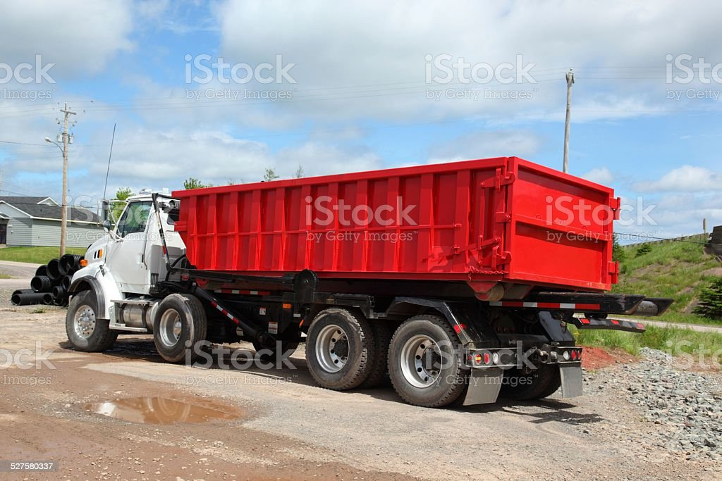 Dump truck that can remove its box, stock photo