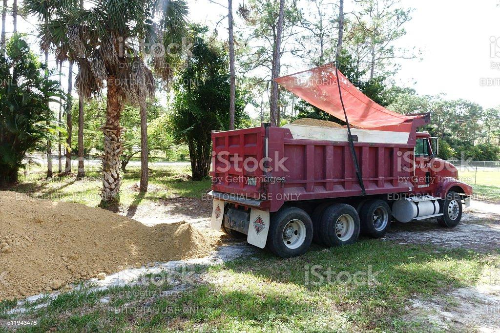 Dump Truck Unloading Fill Dirt Royalty Free Stock Photo