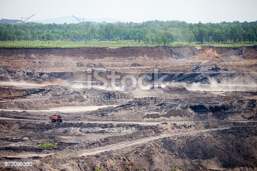 istock Dump trucks at open coal mine 972095380