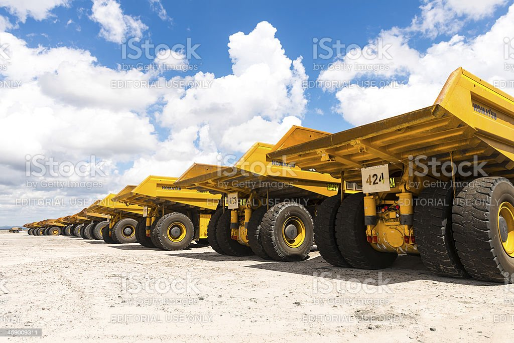 Dump Trucks Parked up from behind stock photo