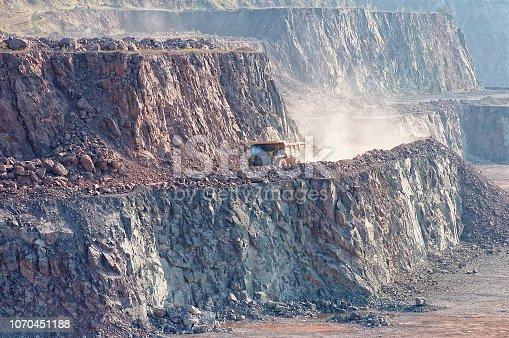 dumper truck in quarry mine.