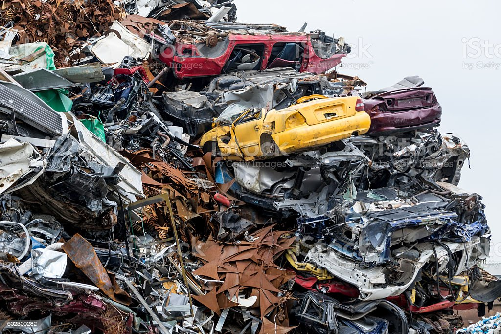 Dumping Ground Scrap Metal Heap Compressed Crushed Cars For ...