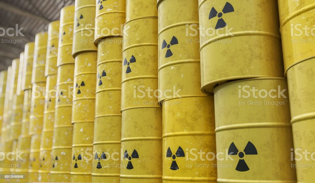 Dumping of radioactive waste barrels. 3D rendered illustration. stock photo