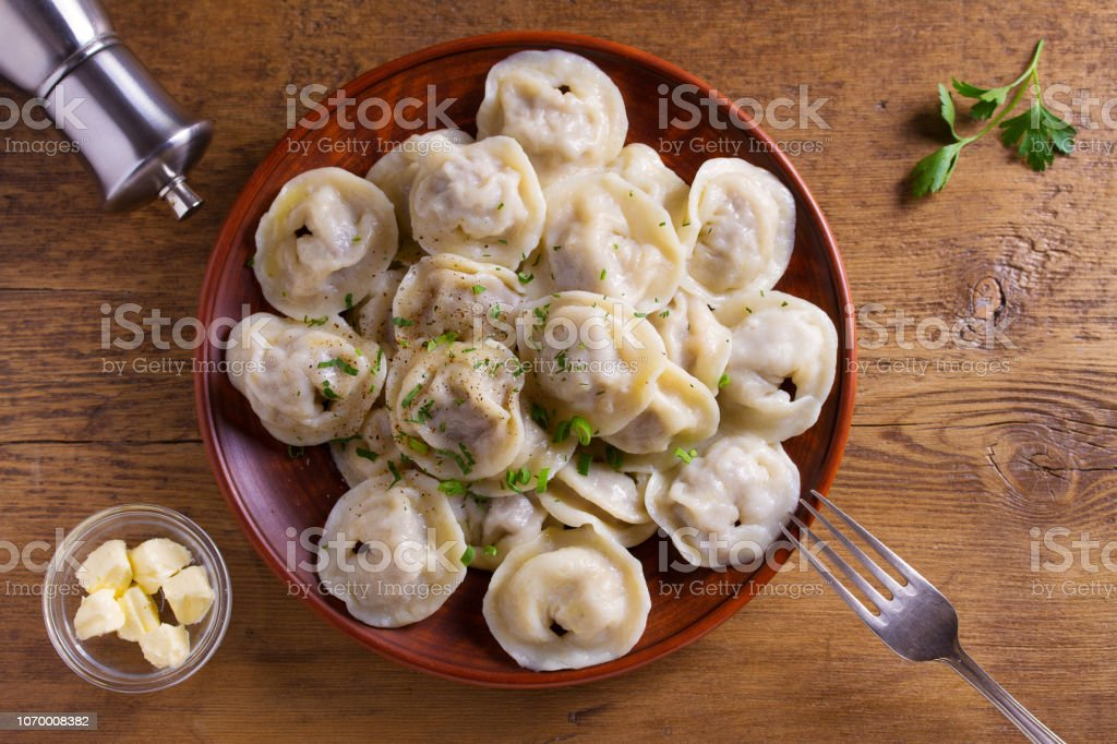 Dumplings, filled with meat, ravioli. Traditional Russian dish...