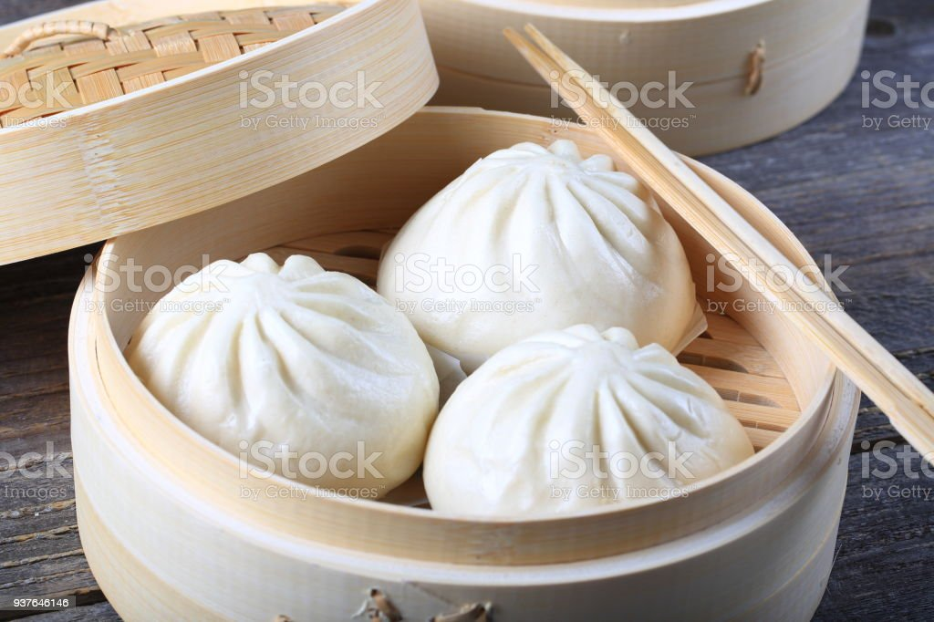 Dumplings in a Bamboo Steamer stock photo