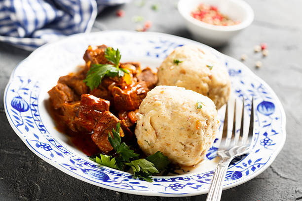 Dumplings Dumplings with beef stew goulash stock pictures, royalty-free photos & images