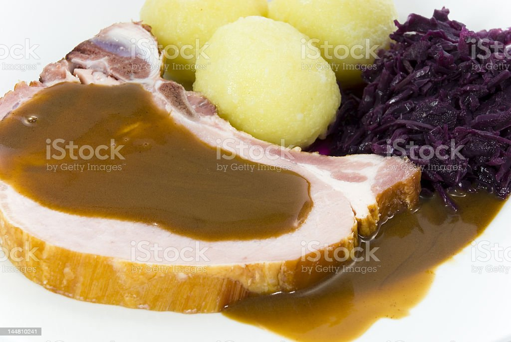 dumplings with pork chop,red cabbage royalty-free stock photo
