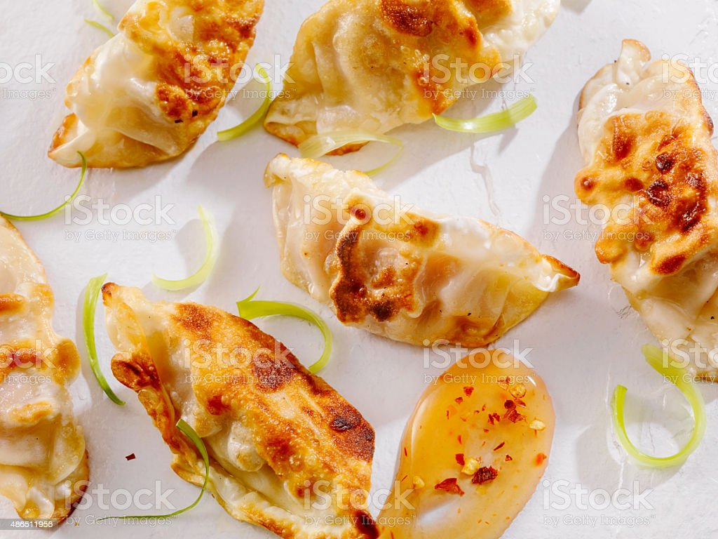 Dumplings With Sweet and Sour Sauce stock photo