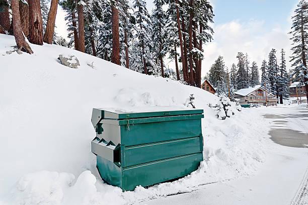 container im schnee - mülltonnenhäuschen stock-fotos und bilder
