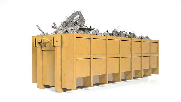 Dumpster, industrial garbage container isolated on white background stock photo