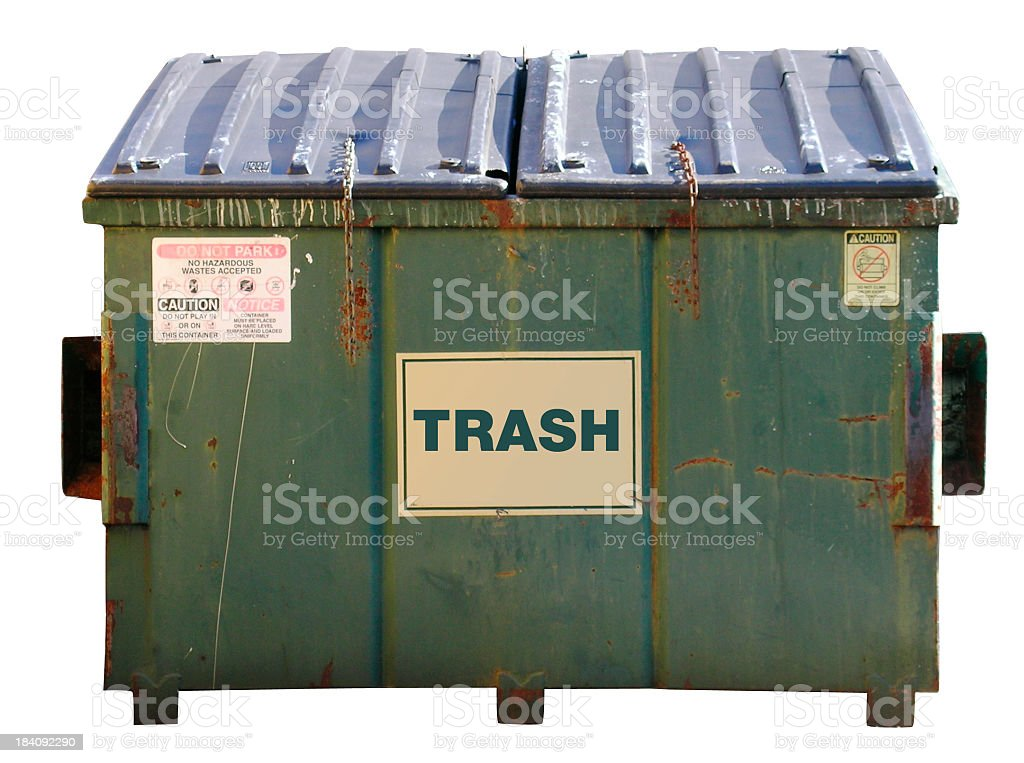 A dumpster with the word trash on the front stock photo