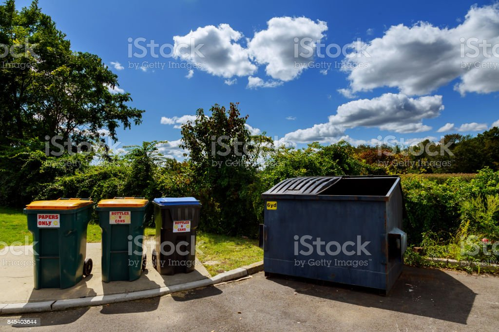 Dumpsters being full with garbage stock photo
