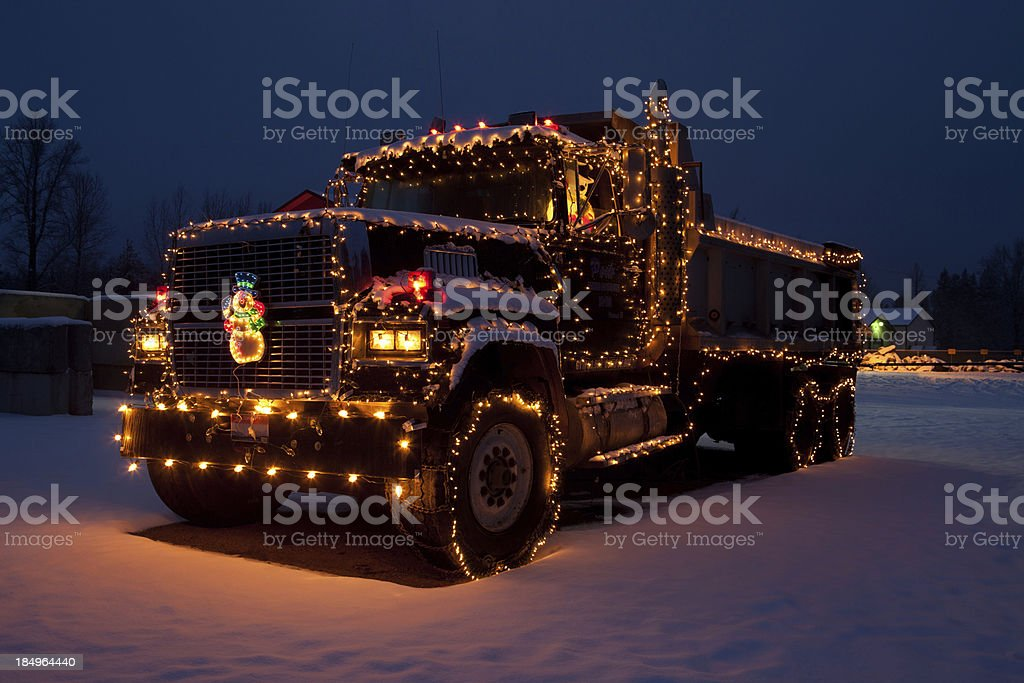 Dumptruck outfitted christmas lights stock photo