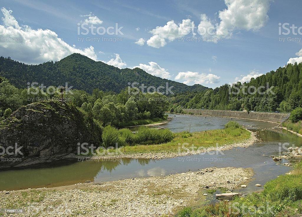 Dunajec 강 Pieniny moutains royalty-free 스톡 사진