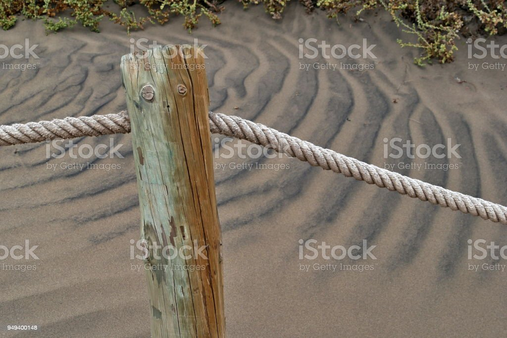 Dunas de Maspalomas - Gran Canaria at storm - with wooden poles_1 stock photo