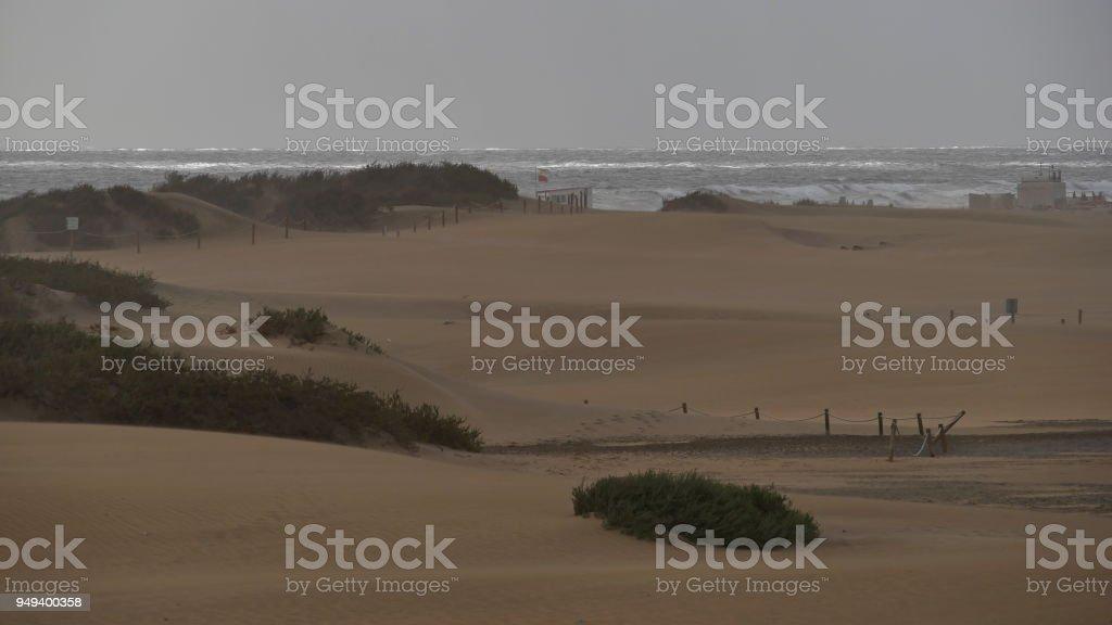 Dunas de Maspalomas - Gran Canaria - Spain - at storm - cloudy view of the beach stock photo