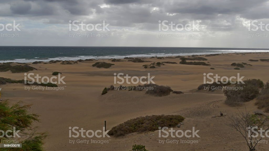 Dunas de Maspalomas - Gran Canaria - Spain - at storm - dark clouds stock photo