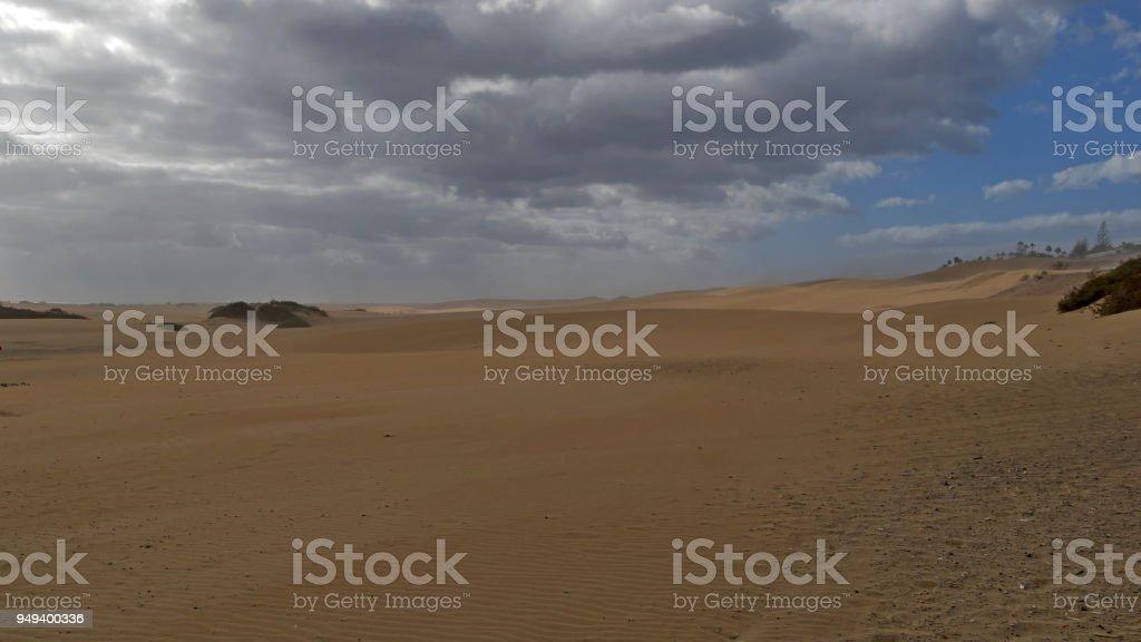 Dunas de Maspalomas - Gran Canaria - Spain - at storm - dark sky stock photo