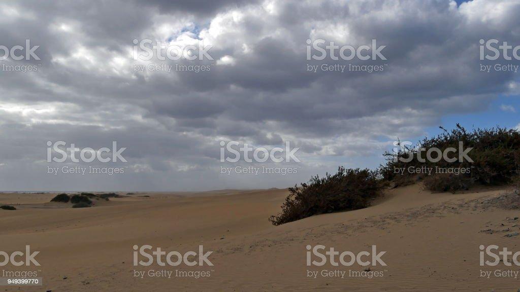 Dunas de Maspalomas - Gran Canaria - Spain - at storm - gray sky with a lot of clouds stock photo