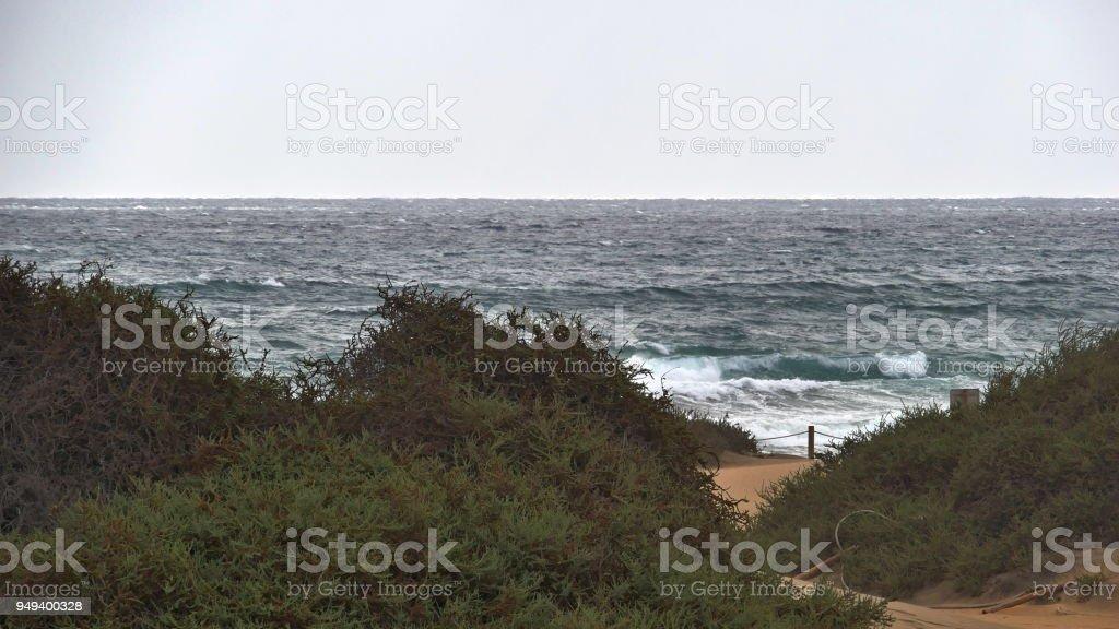 Dunas de Maspalomas - Gran Canaria - Spain - at storm -turbulent sea stock photo