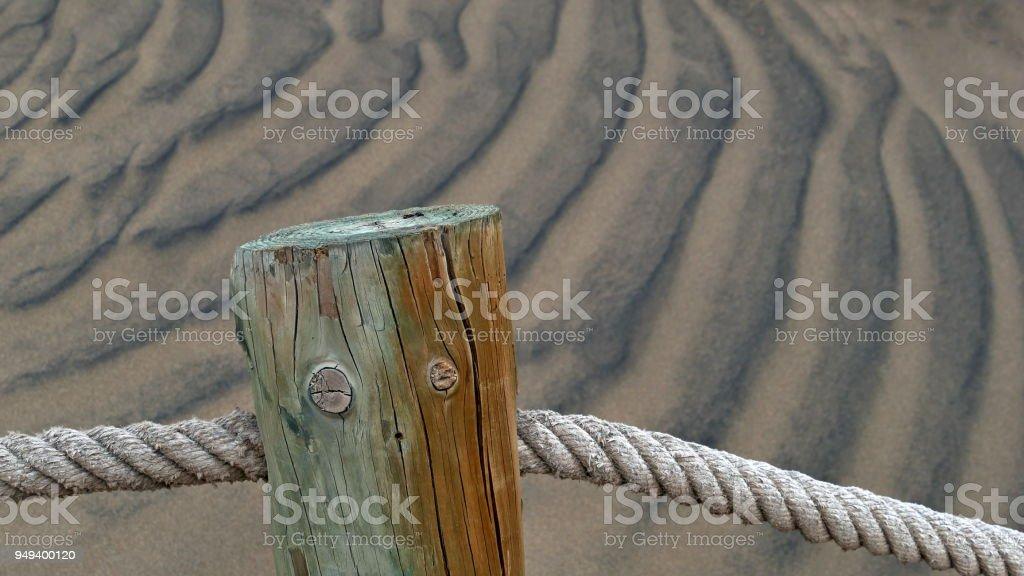 Dunas de Maspalomas - Gran Canaria -Spain - wooden poles stock photo