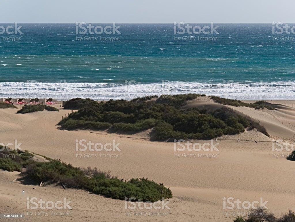 Dunas de Maspalomas, sand dunes of Maspalomas, in the south of Gran Canaria stock photo