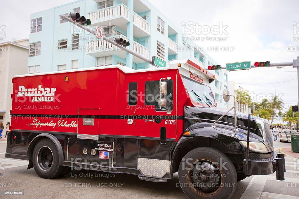 Dunbar Armored Truck crossing Collins Avenue, Miami Beach stock photo