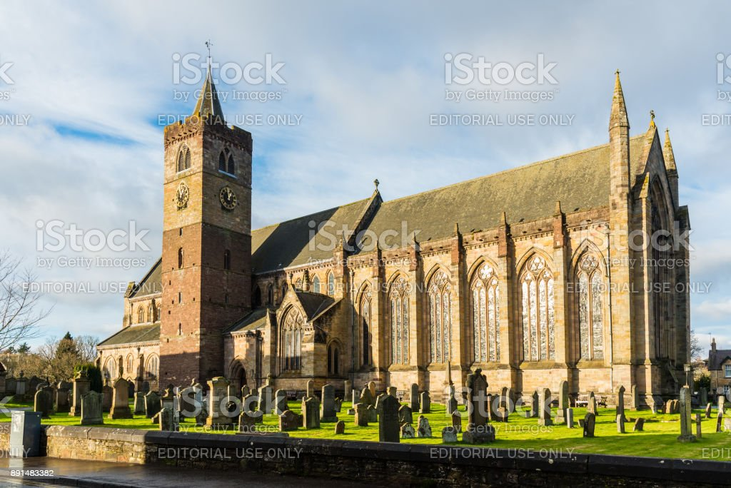 Dunblane Cathedral with its magnificent Clock and Bell Tower stock photo