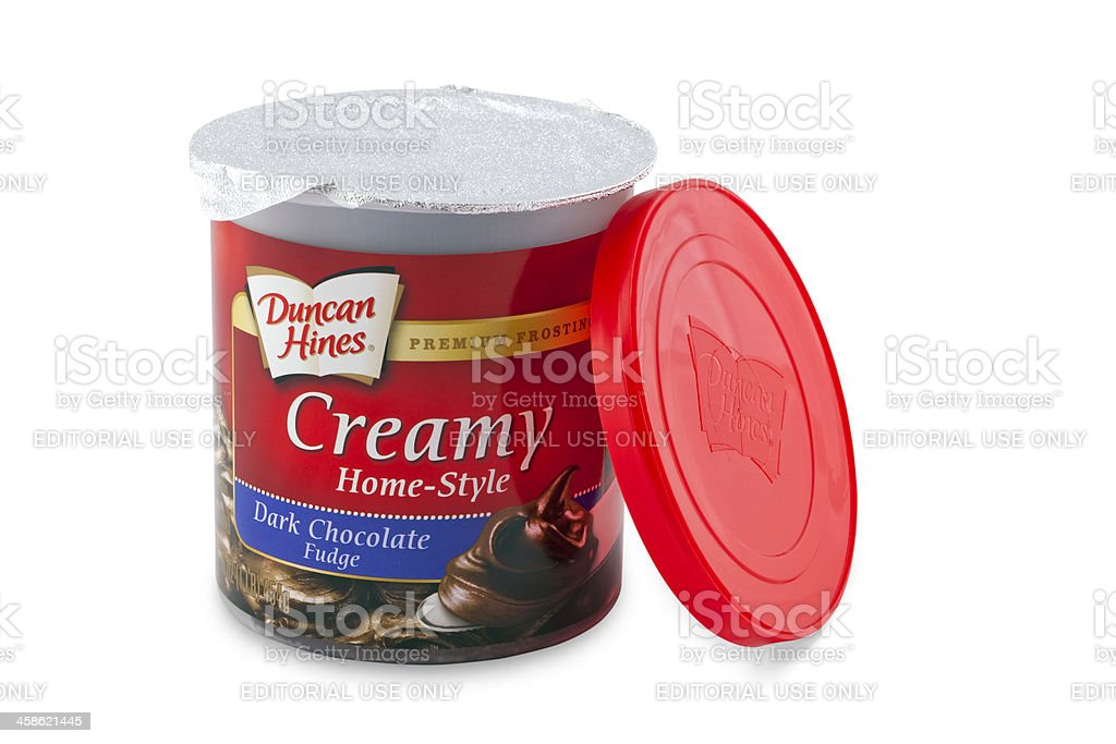 Duncan Hines Home-Style Cake frosting stock photo