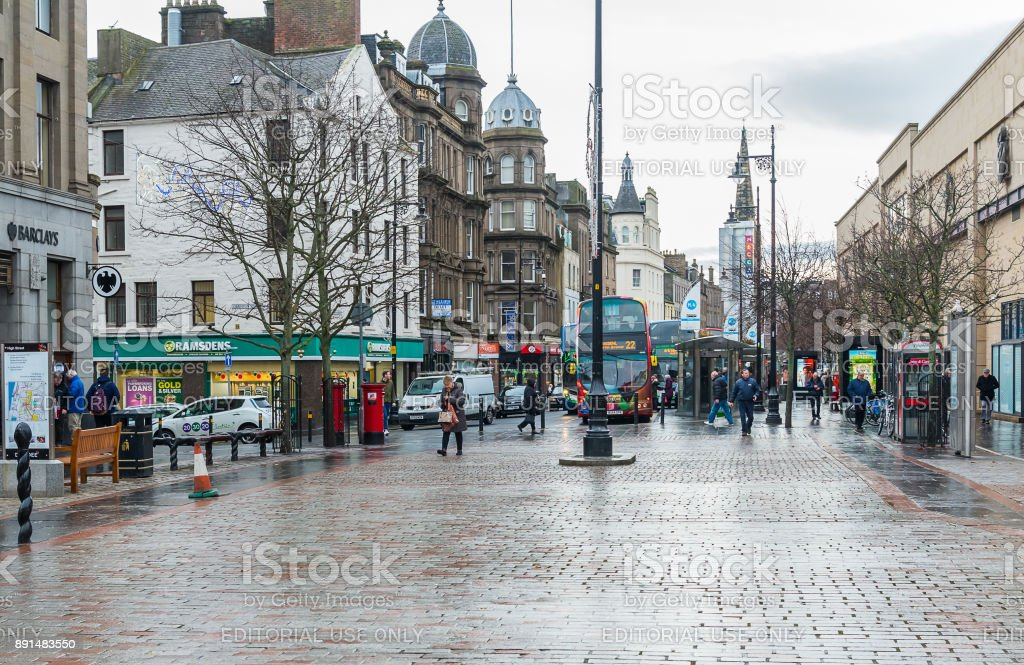 Dundee City Centre in December stock photo