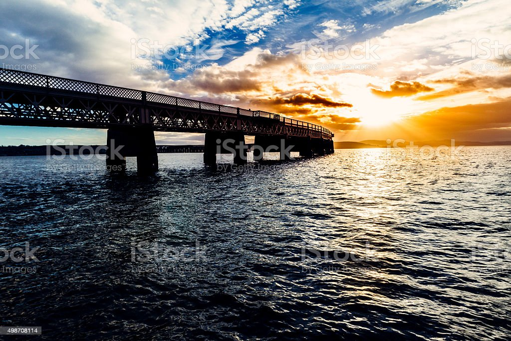 Dundee, Scotland and Tay Rail Bridge stock photo